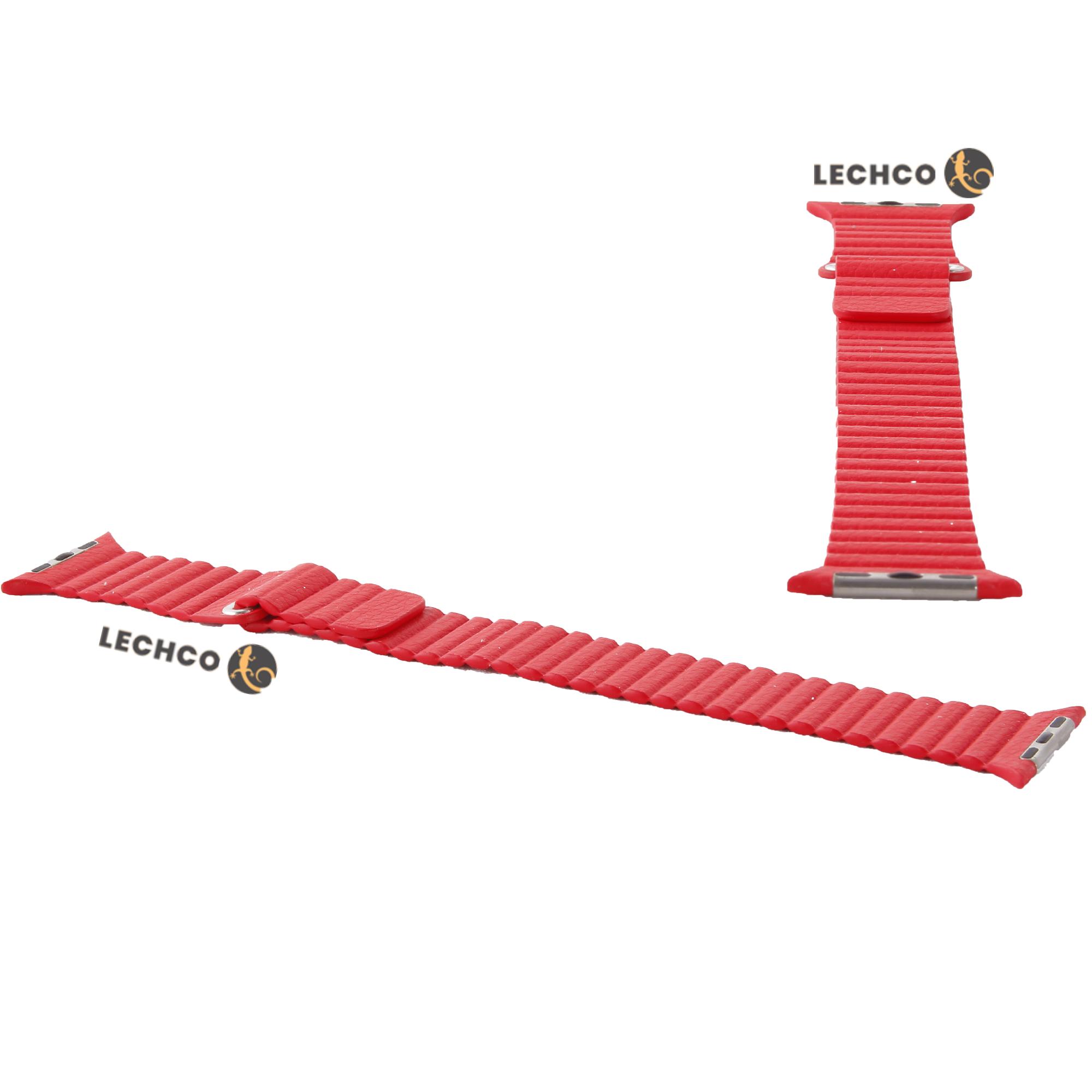 بند ساعت چرمی leatherloop اپل واچ قرمز