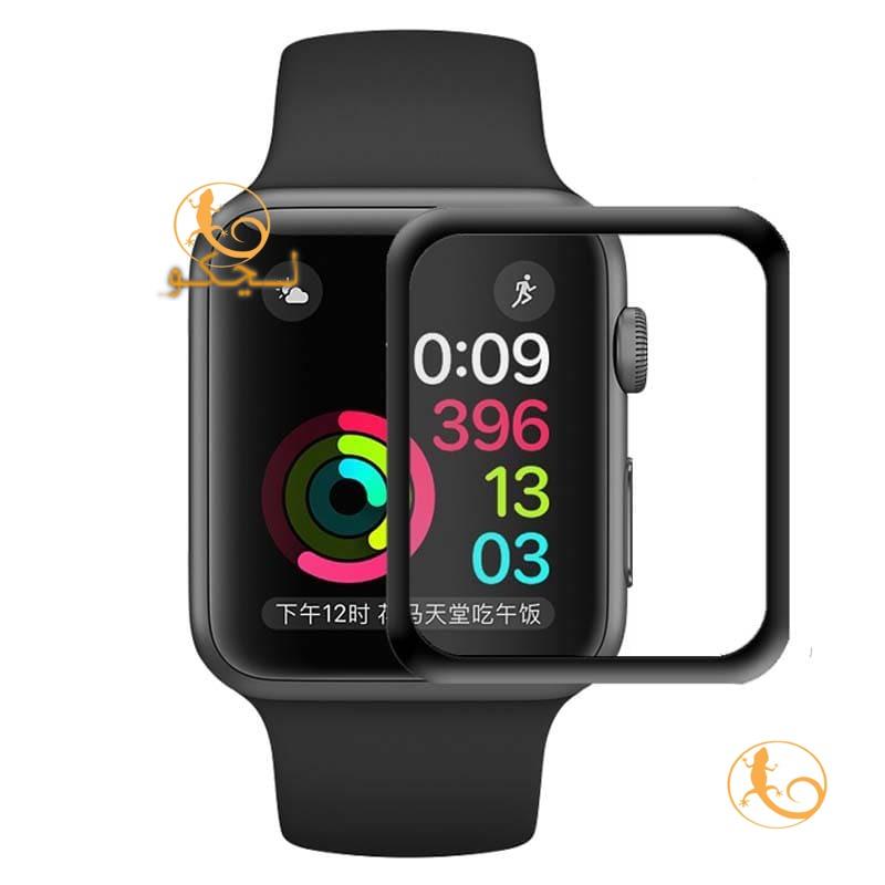 گلس apple watch 7 مدل شيشه ای لبه دار لبه مشكی